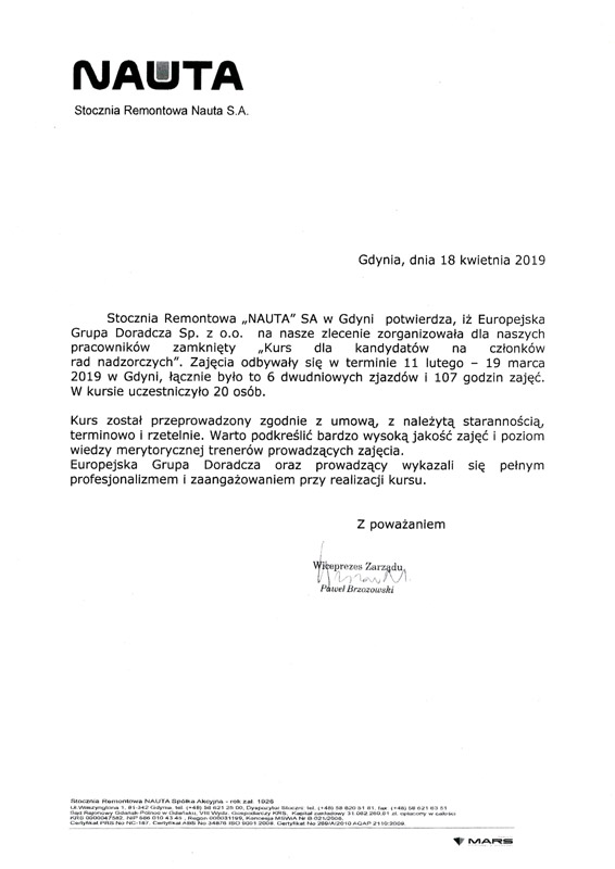 STOCZNIA REMONTOWA NAUTA S.A.