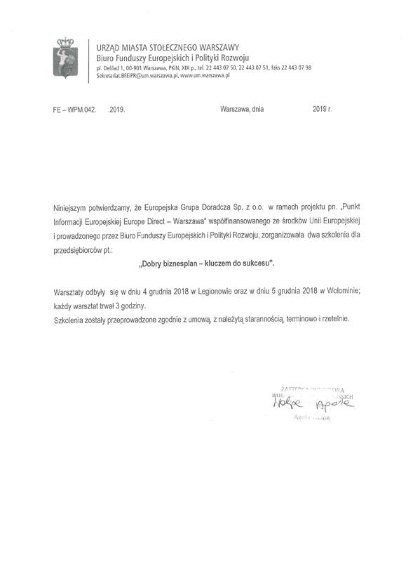 Urząd Miasta Stołecznego Warszawa Biuro Funduszy Europejskich iPolityki Rozwoju